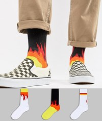 Asos Sports Socks With Flame Design 3 Pack Multi