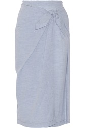 Jill Stuart Wrap Effect Cotton Skirt Blue
