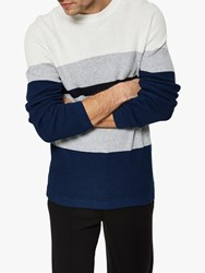 Selected Homme Colour Block Jumper Navy Peony