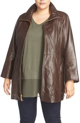 Ellen Tracy Plus Size Women's Leather Walking Coat Brown
