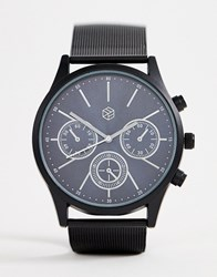 Bershka Watch In Black With Silver Detailing On Face
