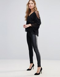 Only Freda Mix Faux Leather Leggings Black