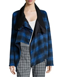 Thakoon Plaid Crossover Asymmetric Coat Blue