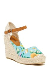 Bucco Flowery Round Toe Wedge Blue