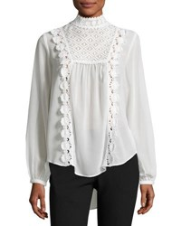 Nanette Nanette Lepore High Neck Crochet Trim Blouse White
