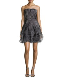 Halston Heritage Strapless Fit And Flare Cocktail Dress Charcoal Grey