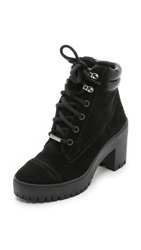 Dkny Shelby Suede Lug Sole Booties Black