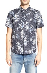Native Youth Men's Trim Fit Print Woven Shirt Black