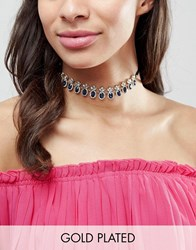 Johnny Loves Rosie Bold Gem Necklace With Satin Neck Tie Clear Gold