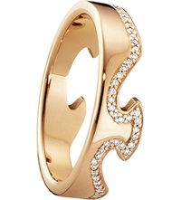 Georg Jensen Fusion End 18Ct Rose Gold And Diamond Ring