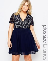 Club L Plus Skater Dress With Scalloped Crochet Top Navy Cream
