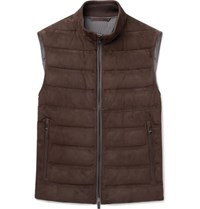 Ermenegildo Zegna Quilted Suede And Cotton Down Gilet Brown