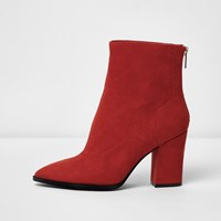 River Island Red Wide Fit Block Heel Pointed Ankle Boots