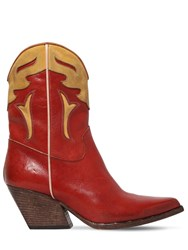 Elena Iachi 60Mm Two Tone Leather Cowboy Boots Red Yellow
