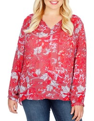 Lucky Brand Plus Floral Printed V Neck Blouse Red Multi