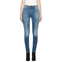 Saint Laurent Blue High Waist Skinny Jeans