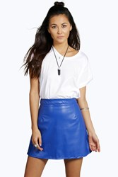 Boohoo Faux Leather A Line Mini Skirt Cobalt