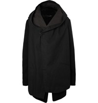 Isabel Benenato Hooded Convertible Cotton Twill Coat Black