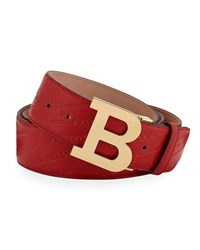 Bally Stamped Leather Belt Red