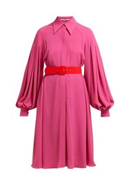 Emilia Wickstead Clarisse Crepe Balloon Sleeve Dress Pink