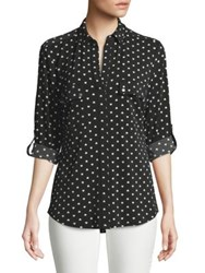 Jones New York Heart Print Button Down Blouse Black