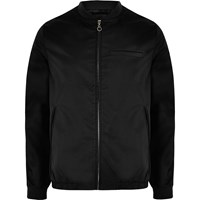 Bellfield River Island Mens Black Shine Bomber Jacket
