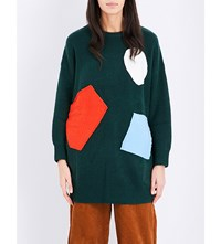 Chocoolate Colour Patch Knitted Jumper Green