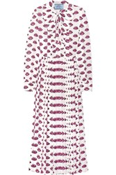 Prada Pussy Bow Pleated Printed Crepe Midi Dress Pink