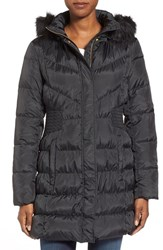 Women's Via Spiga Waist Detail Down And Feather Fill Coat With Faux Fur Trim Hood Black