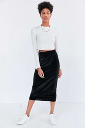 Silence And Noise Velvet Pull On Column Midi Skirt Black