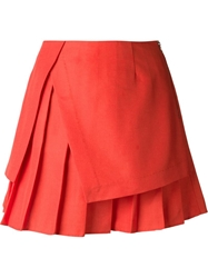 Suno Pleated A Line Skirt Red