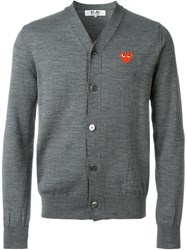 Comme Des Gara Ons Play Embroidered Logo Cardigan Grey