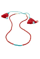 Aurelie Bidermann Aurelie Bidermann Sioux Gold Plated Necklace With Turquoise And Coral Beads Red