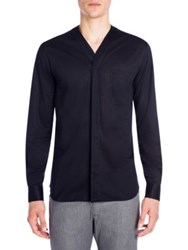 Emporio Armani Collarless Solid Sport Shirt Solid Blue