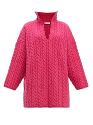 Balenciaga Oversized Cable Knit Sweater Pink