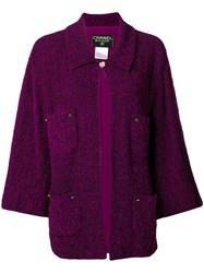 Chanel Vintage 1998'S Knitted Shift Jacket Purple