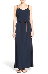 Women's Michael Michael Kors Grommet Detail Belted Leather Strap Maxi Dress New Navy