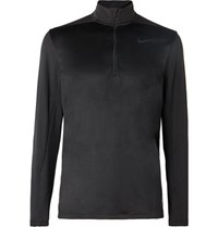 Nike Stretch Mesh Panelled Dri Fit Half Zip Top Black