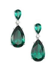 Adriana Orsini Double Crystal Teardrop Earrings Green
