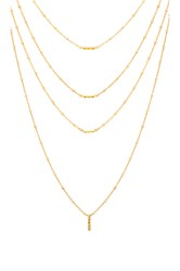 Luv Aj Ombre Bar Multi Charm Necklace Metallic Gold