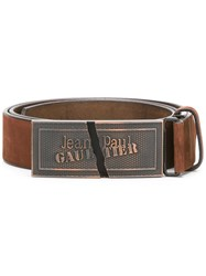 Jean Paul Gaultier Vintage Logo Plaque Belt Brown