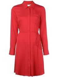Milly Pointed Collar Shirt Dress Red