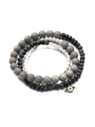 Sydney Evan White Agate Grey Quartz And 14K Yellow Gold Evil Eye Beaded Stretch Bracelet Black