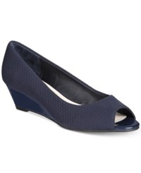 Alfani Women's Step 'N Flex Cammi Wedges Only At Macy's Women's Shoes Navy Texture