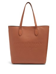 Burberry Logo Embossed Leather Tote Bag Brown