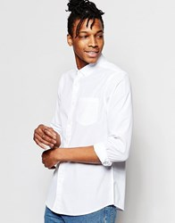 Asos Seersucker Shirt In White With Long Sleeves White