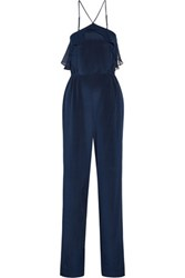 Haute Hippie Ashbury Ruffled Silk Chiffon And Satin Jumpsuit Storm Blue