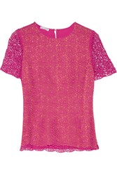 Oscar De La Renta Paneled Crocheted Cotton And Cady Top Bright Pink