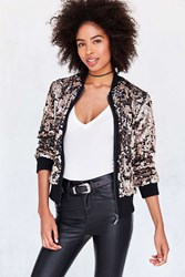 Silence And Noise Lex Sequin Bomber Jacket Rose