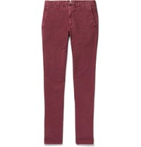 Incotex Slim Fit Stretch Cotton Panama Chinos Burgundy
